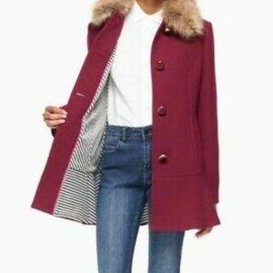 kate spade Jackets & Coats - Kate spade faux fur collar coat midnight wine